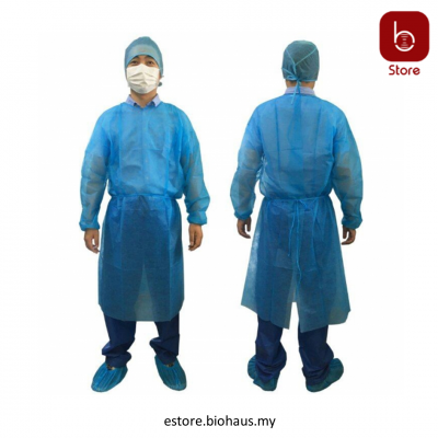 Blue Isolation Gown With White Cuff 30gsm