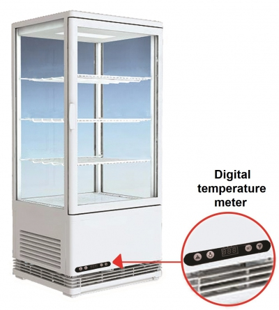 Table Top 4-Sided Glass Door Display Chiller Refrigerator
