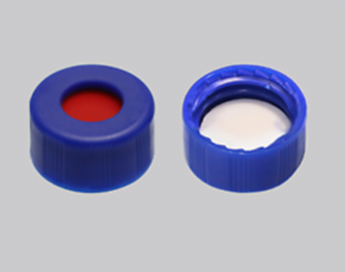 White PTFE/Red Silicone Septa+Blue Screw cap with hole, for 2ml 9-425 screw top vial, 100/pk