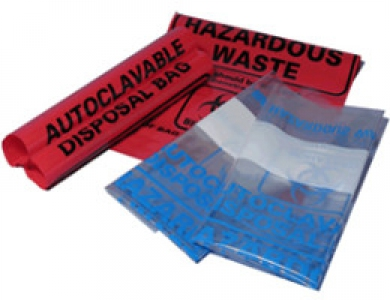 "Autoclave bags, 12.2x26"" (31 x 66cm), red, biohazard, printed, marking area, 4 packs of 50pcs"