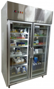 Laboratory Stainless Steel 2-Glass Door Chiller