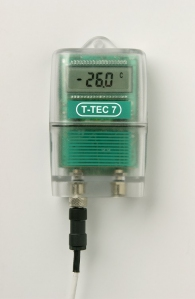 TTEC Temperature Data Logger with cryogenic teflon PT100 sensor cable (Temperature Range A, -200 to 120 °C)