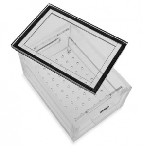 Holder Desiccator Personal Small Clear Acrylic with Removable Perforated Tray and Removable Lid