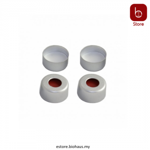 White PTFE/Red silicone septa + Aluminium cap with hole, for 2ml crimp top vial