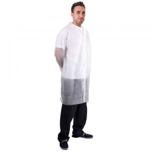 NON WOVEN LABCOAT WITH VELCRO WHITE