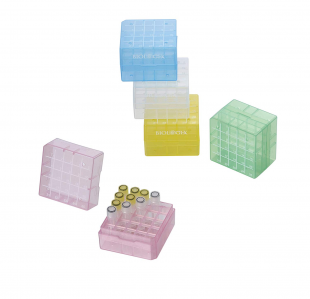 [Biologix] 25 Well Cryogenic PP Boxes, Assorted Colors,  2-inch (75 x 75 x 52mm)